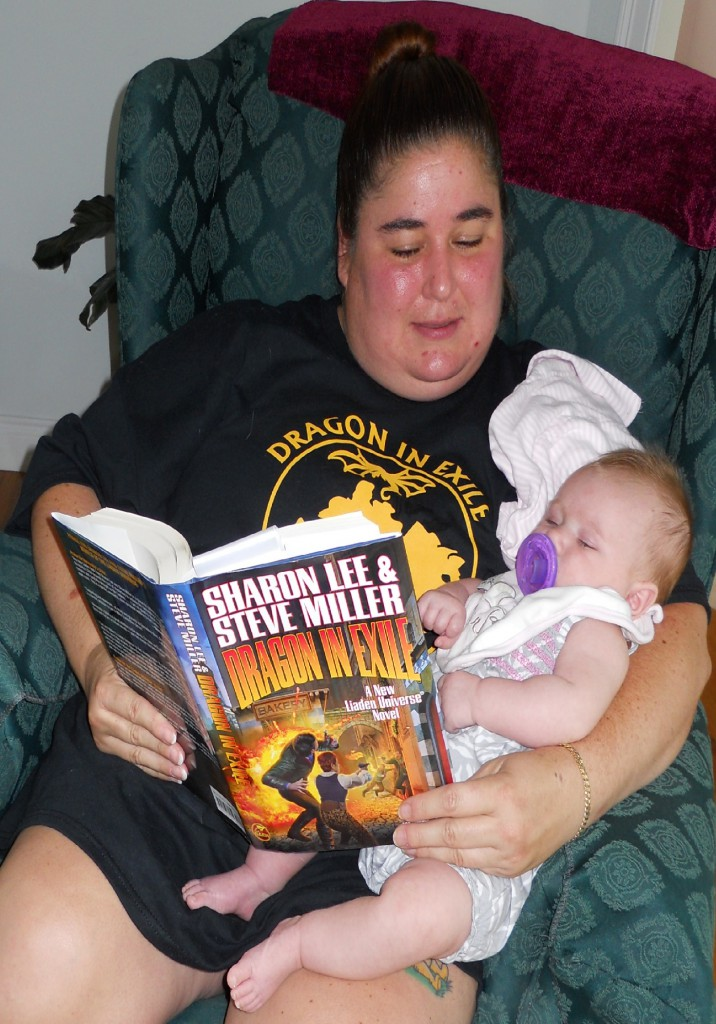 Diana DiMascio: Delm in Training, reading my clan's future Delm the Liaden histories.