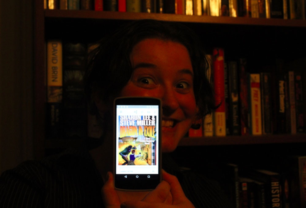 Linda Goldstein: This is a picture of me with Dragon in Exile (kindle for android) :)