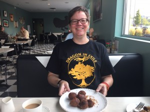 Sonya Lawson: My pre-Worldcon breakfast of maple donuts! Getting fortified for day 1!!