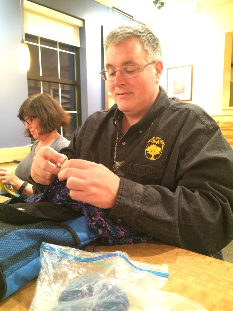 Bruce Glassford: Working on a shawl for the delmae