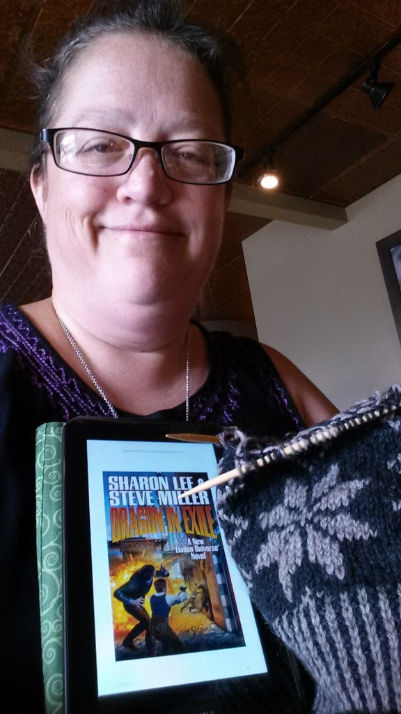 Joy Wandrey: We are waiting at a starbucks for our cruise boarding time to get here, so i'm working on a sock fit for a delmae!