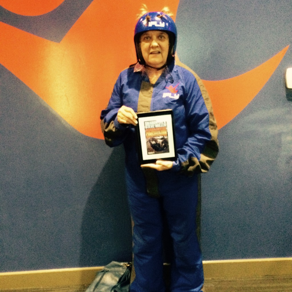 Susan Buttram: Flying without a ship at IFly Austin. Unfortunately I couldn't take my tablet into the vertical wind tunnel so the picture was taken in front of their emblem.